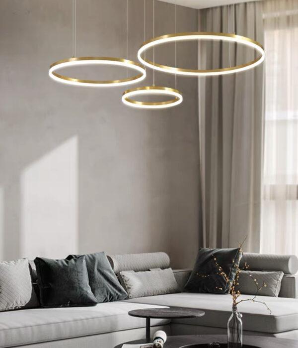 Тросовая серия люстр в стиле Арт-Деко Kukho Golden Circle Lamp